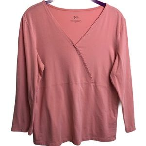 J. Jill Supersoft Crossover Tee Salmon Pink Peach